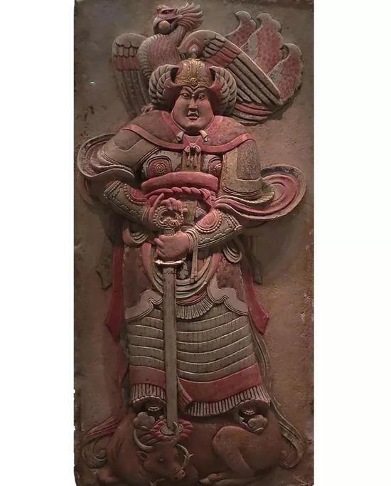安思远归赠的王处直墓汉白玉武士彩绘浮雕