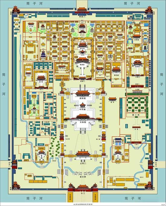 故宫平面图:声音从午门传递到神武门 图片来源于故宫博物院官网