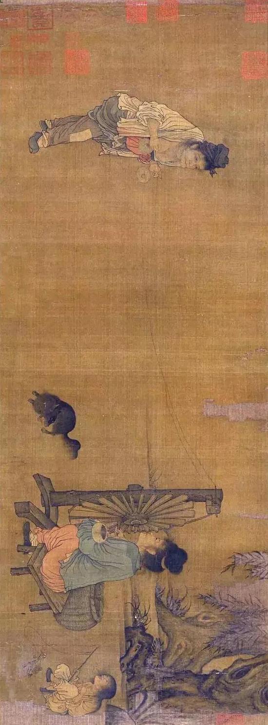 《纺车图》宋 王居正 绢本设色 北京故宫博物院藏
