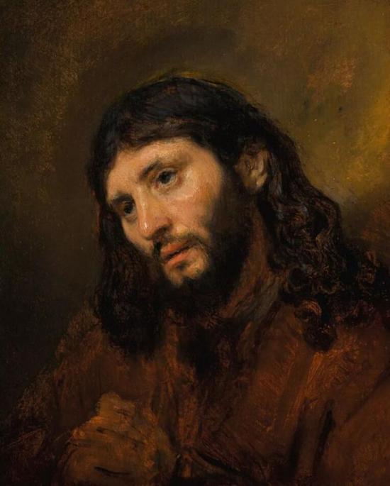 《双手交叉的年轻男子头像习作,祈祷中的基督》