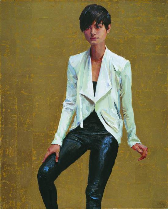 喻红,《李宇春》,2014,仿金箔、布面丙烯,100 x 80 cm