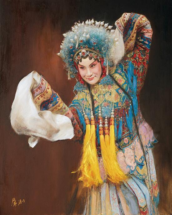 朱刚,《中国戏曲人物》,油画,75×60cm