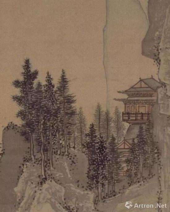 具有透视关系的树木,绘出了山的纵深。