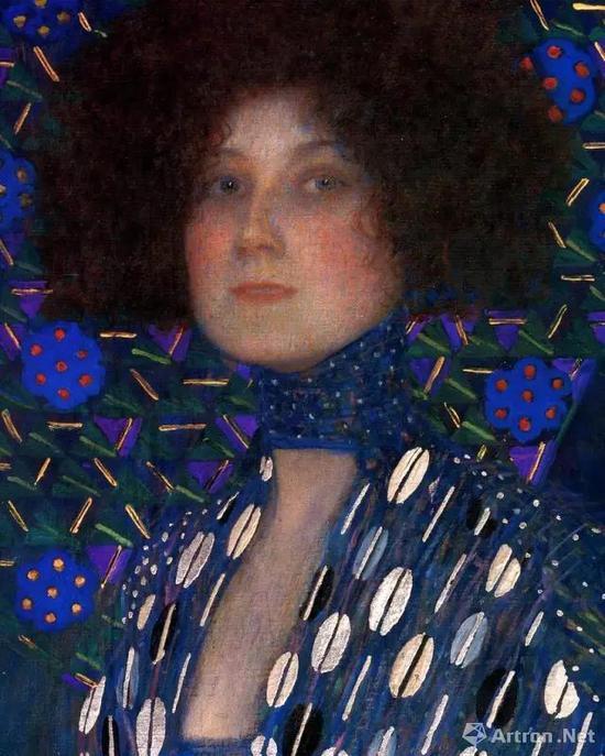 古斯塔夫·克里姆特《艾蜜莉·芙洛格肖像》(局部),1902年