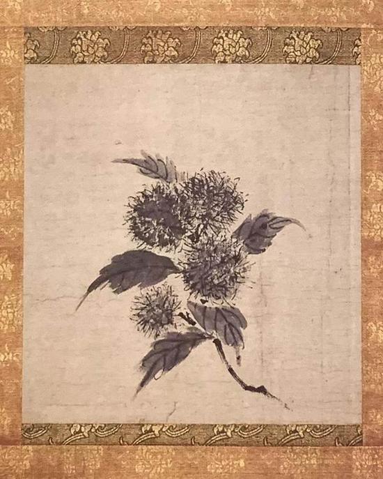 牧溪《栗图》册,纸本,水墨画,纵35.2厘米,横33厘米。
