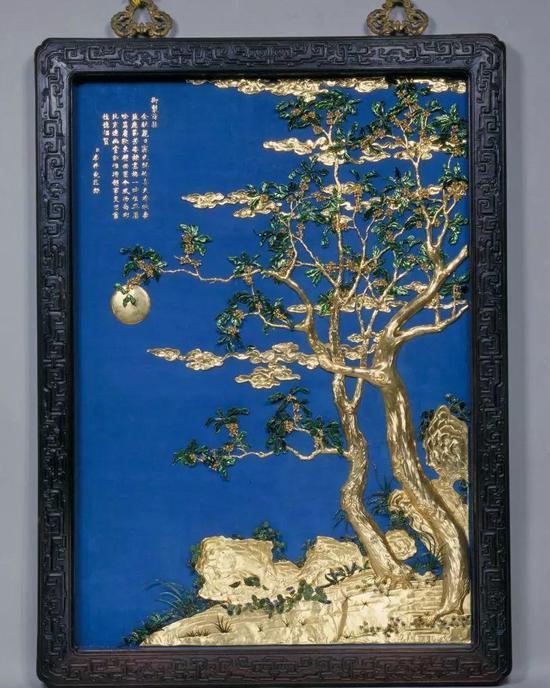 紫檀边金桂月挂屏 清