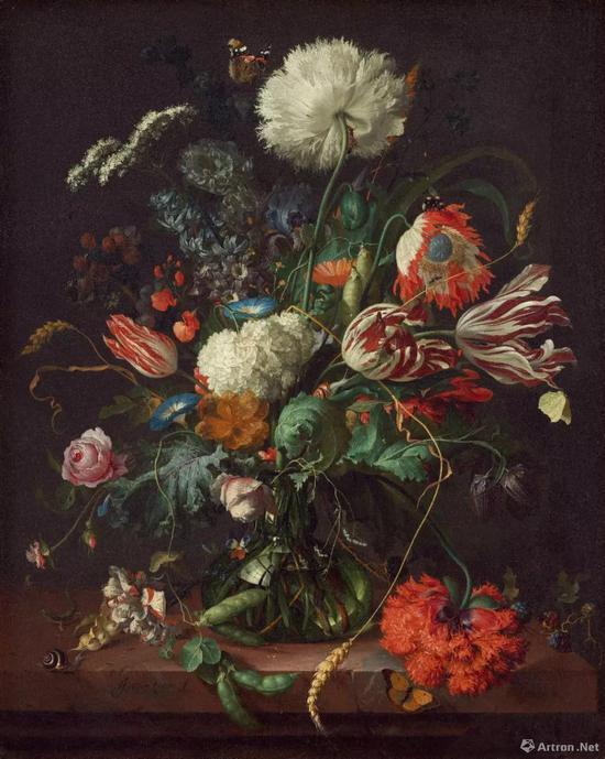 ▲扬·达维兹·德·海姆《花瓶中的鲜花》