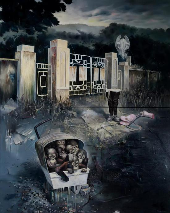 王雷 《十二只猴子》 布面油画 1.6×2m 2017