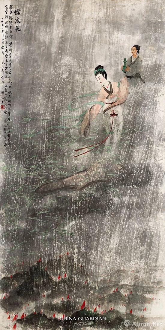 傅抱石《蝶恋花 · 答李淑一》词意图 轴 纸本 设色167×83.5cm 1958年8月8日
