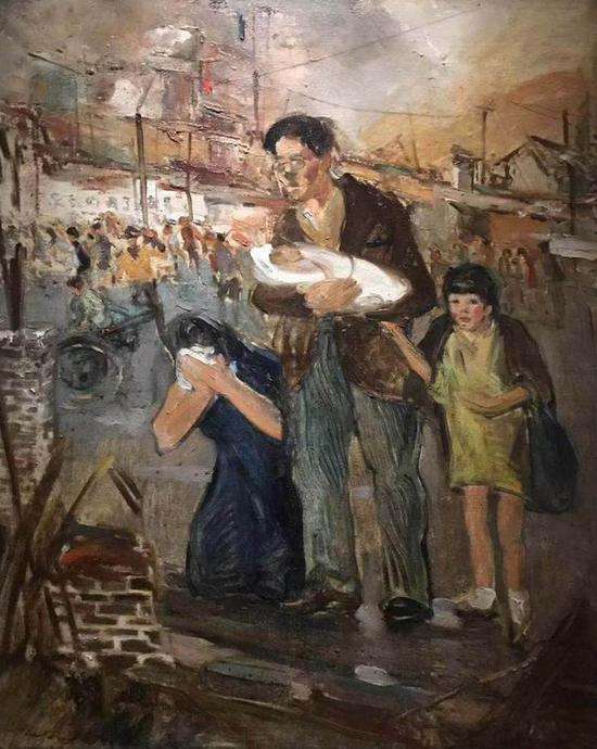 常书鸿,《重庆大轰炸》,布面油彩,79x63.8厘米,1938-1942年,龙美术馆