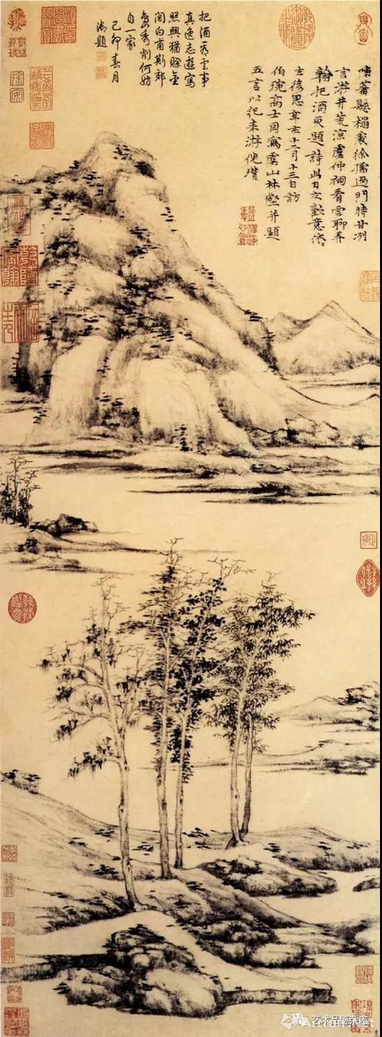 ■ 倪瓒《虞山林壑图》纸本 墨笔94.6×34.9cm 大都会艺术博物馆藏