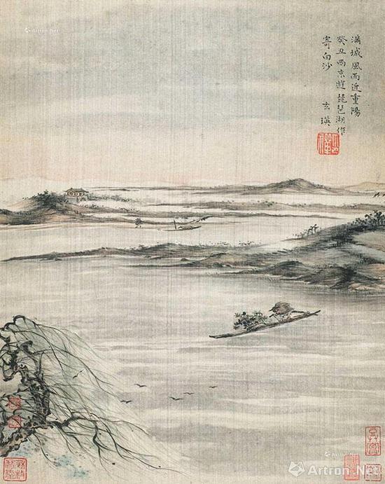 苏曼殊《琵琶湖记游》镜心 绢本 32×26cm 类似倪瓒的构图