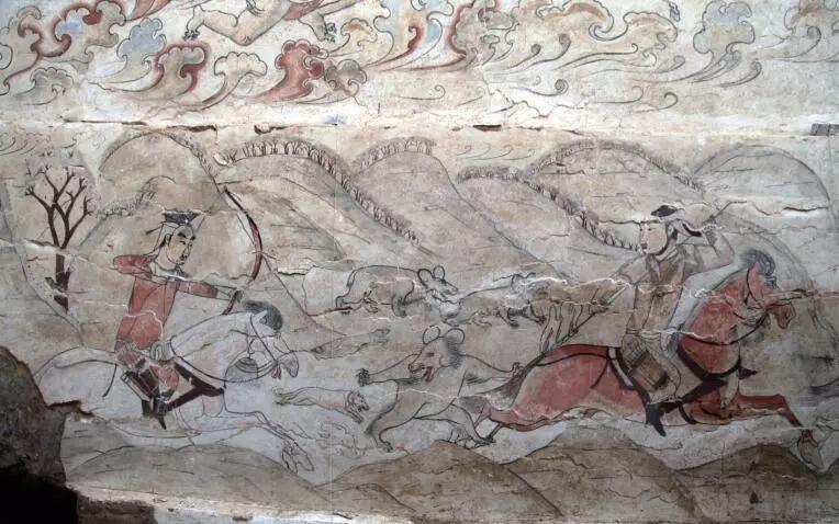 """▲墓道东壁第二层壁画""""骑马猎熊图"""""""