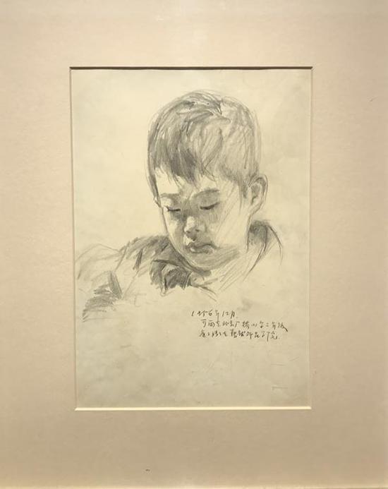 吴冠中,《可雨九岁》,纸本铅笔,1956