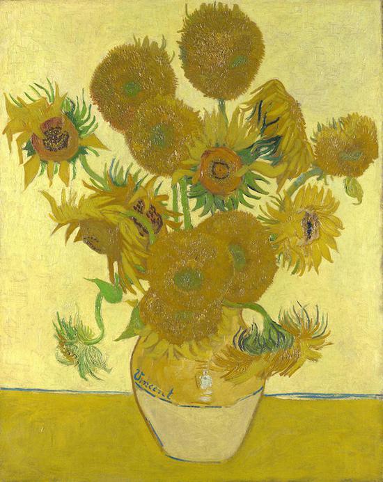 梵高,《花瓶里的十五朵向日葵》,1888年8月于阿尔勒,英国伦敦国家美术馆藏