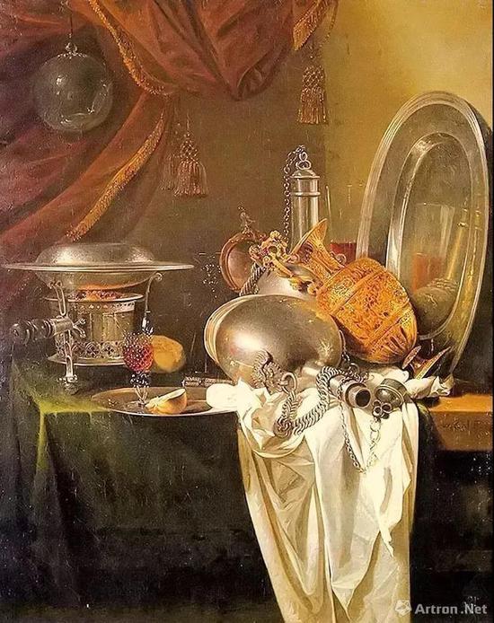 ▲威廉·考尔夫《静物与火锅》 1649