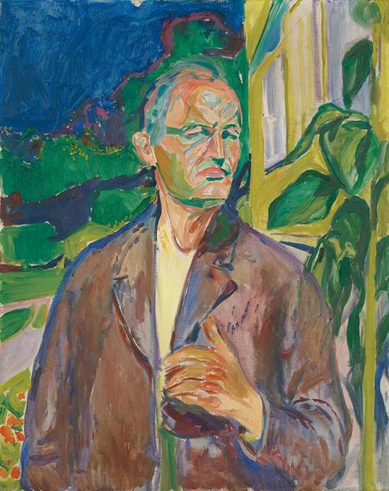 家中墙壁前的自画像 1926年 油彩、油画