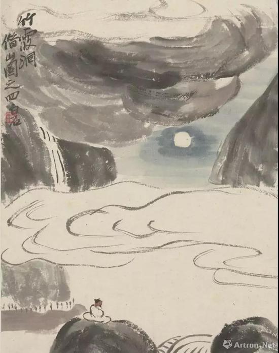 齐白石 自临借山图册之竹霞洞 纸本设色 25.5cm×20cm 1927年 中国艺术研究院