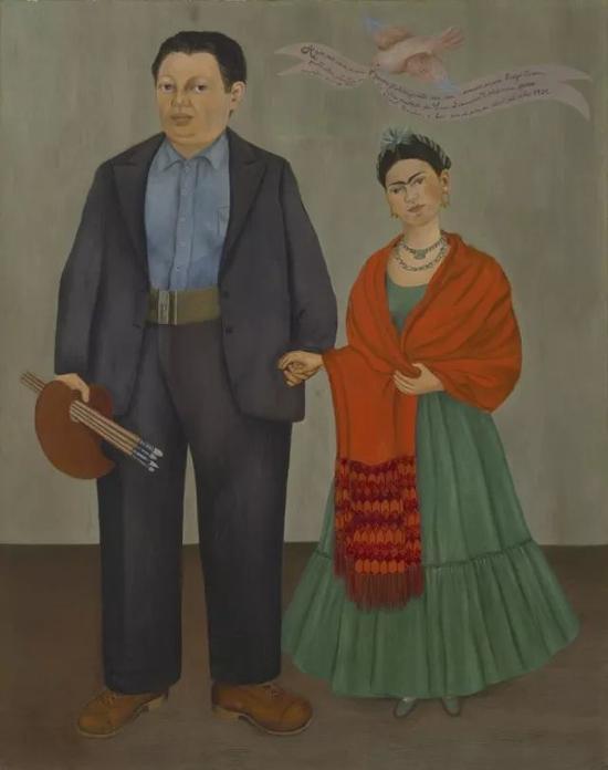・ 弗里达・卡罗《弗里达和迭戈・里维拉》1931年 油画 @旧金山现代艺术博物馆