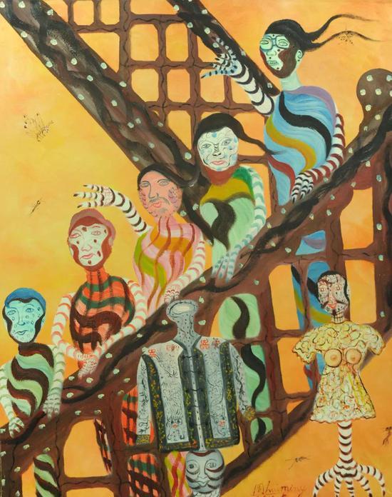 周惠明 《走下楼梯的模特们》 100cmx80cm 2010年5月