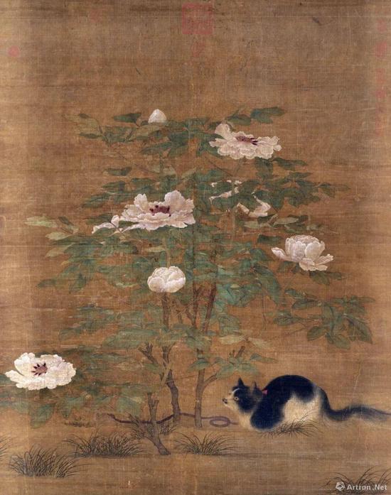 宋人《富贵花狸》轴 141x107.5cm 全幅长 122cm,现藏于台北故宫博物院