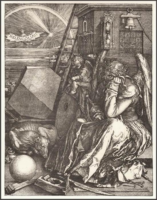 丢勒《忧郁I》,线刻铜版画,1514年