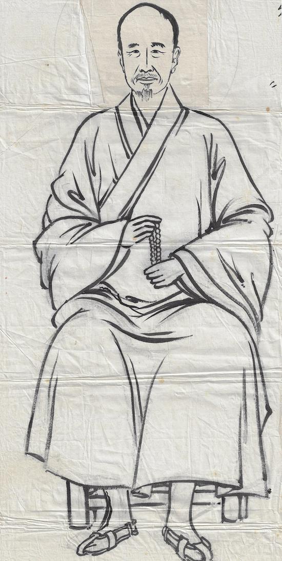 丰子恺 弘一法师像 水墨纸本镜心 丰子恺家族收藏