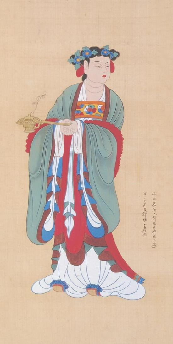 张大千 《临吉祥天女像》 96×59m 纸本设色 1944年 北京画院藏