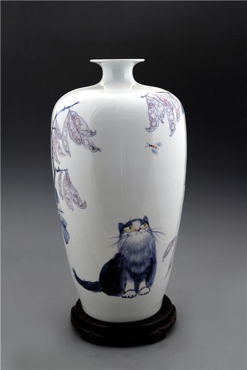 王纯祥《千猫瓶》大口梅瓶·青花瓷招财猫瓶之一