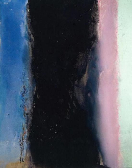 赵无极《向马谛斯致敬 02.02.86》油彩画布,162x130cm,1986年作(版权所有)此为赵无极1986年首度在创作形式上出现垂直的三涧式构图,该构图形式在他的毕生创作中仅有三件,是次上拍的《25.06.86桃花源》是为其二