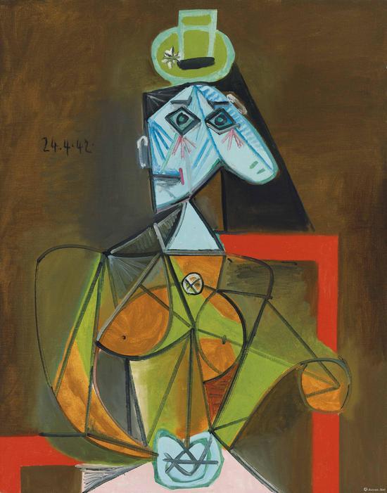 巴布罗·毕加索作品油彩 画布 92 x 73 cm。 1942年4月24日作于巴黎