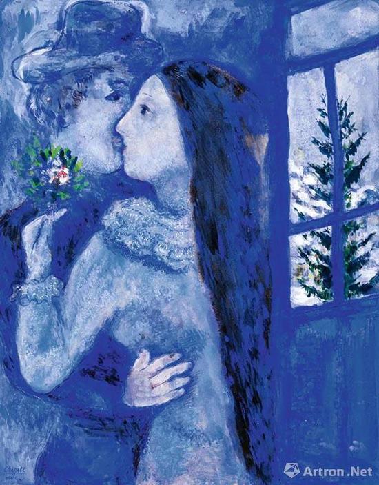 马克·夏加尔(Marc Chagall) 《吻》或《蓝色恋人》