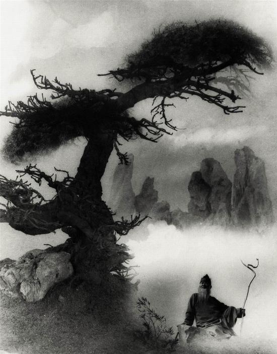 图1。郎静山拍摄的张大千艺术风景照