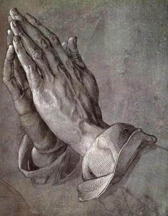 丢勒《祈祷的手》,素描