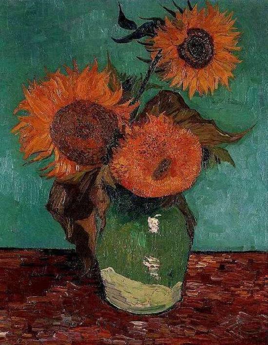 梵高,《花瓶里的三朵向日葵》,1888年8月,私人收藏