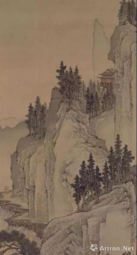具有透视关系的树木与山石结合,制造了险峻的气质,也塑出了造型。