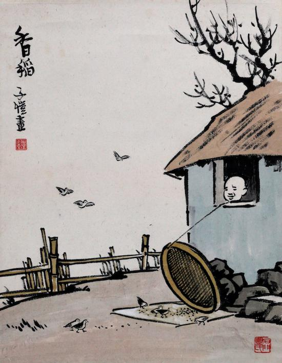 丰子恺 香稻图 1963年 桐乡丰子恺纪念馆藏