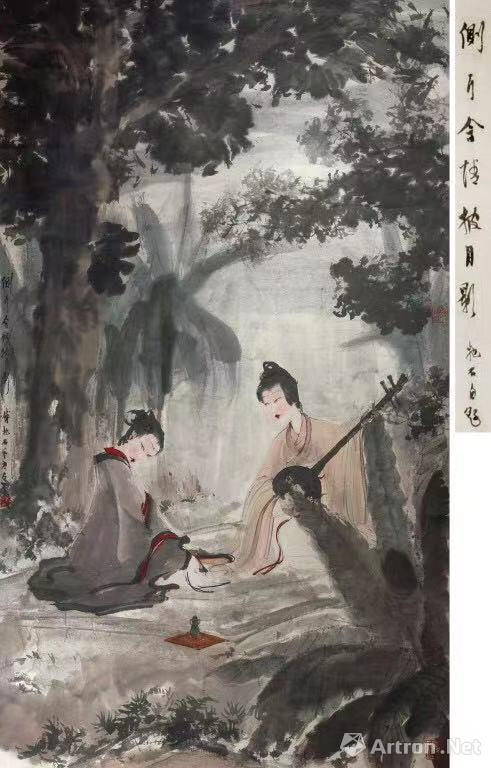 傅抱石《侧耳含情披月影》 113.5×66cm