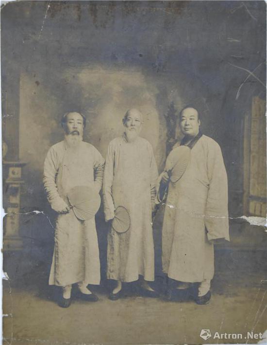 附图6。曾熙(右一)与王聘三(中)、李瑞清(左一)合影