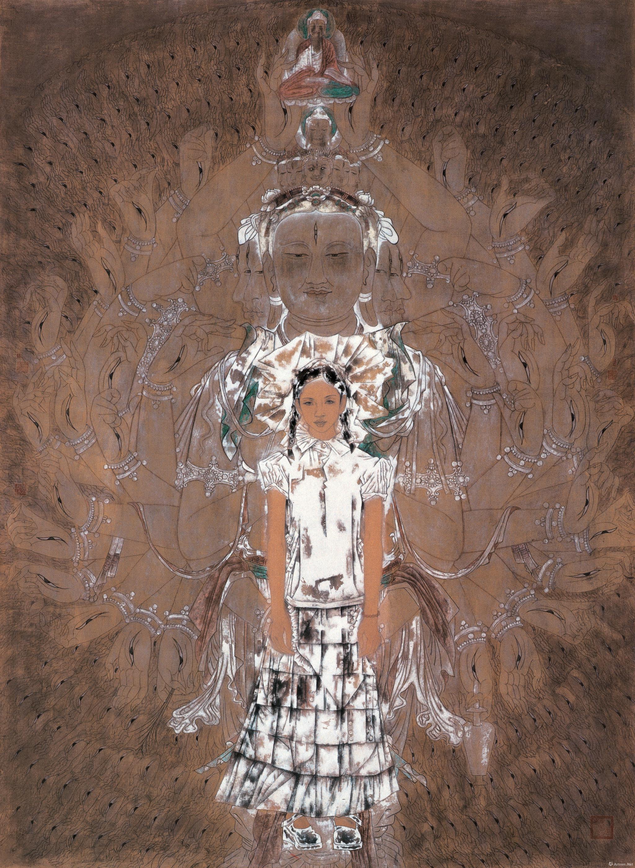 敦煌之梦-千手观音唐勇力绢本矿物色 140x220cm 2003年
