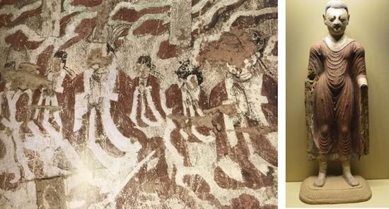 雅尔湖供养人(左) 佛立像-6世纪-吐鲁番市柏孜克里克石窟(右)