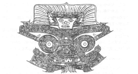 良渚聚落群反山遗址12号墓出土玉琮表面刻划的神人兽面纹图案。