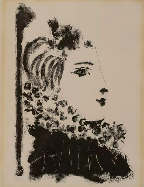 巴勃罗·毕加索,《戴环状领的女人》,飞尘腐蚀版画
