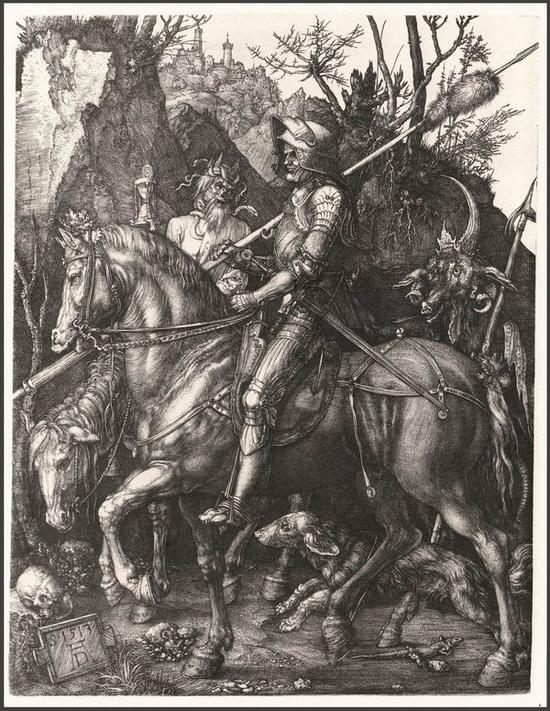 丢勒《骑士、死神与魔鬼》,线刻铜版画,1513年