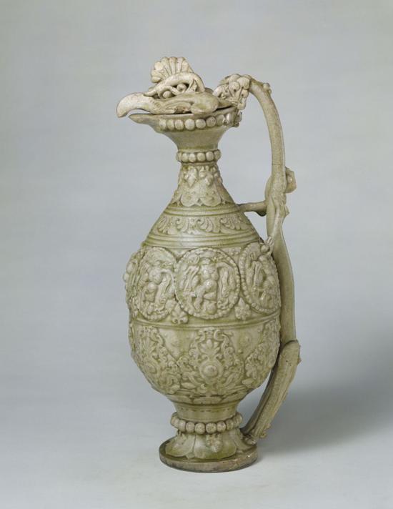 青釉凤首龙柄壶,通高41.3cm,口径19.3cm,足径10.2cm。