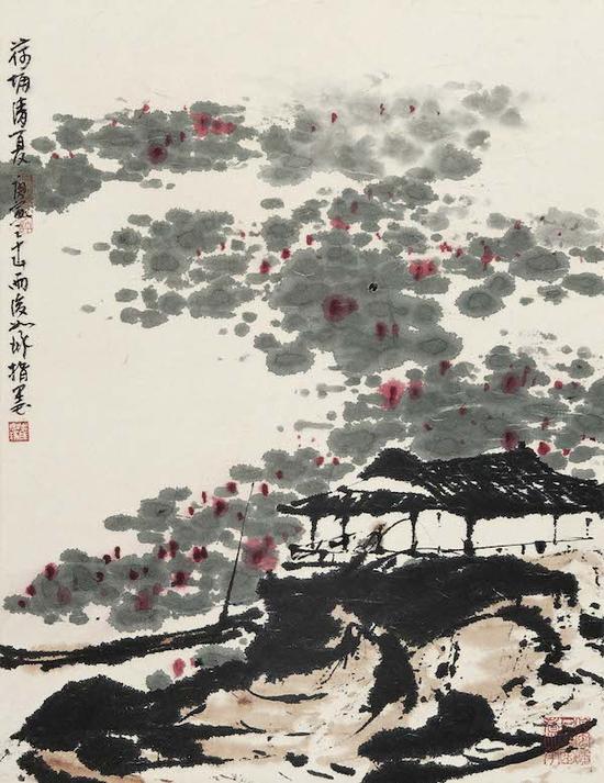 崔如琢,《荷塘清夏》, 47×37cm ,2010年(指墨画)