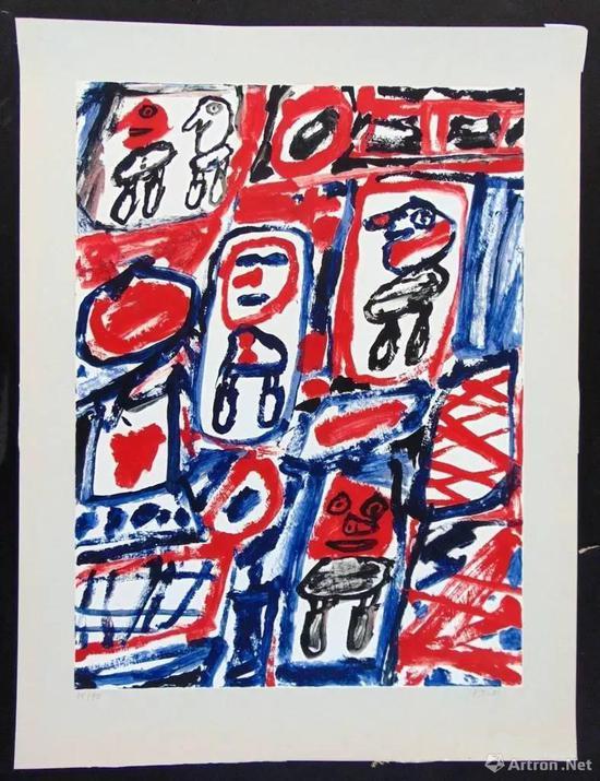 让·杜布菲《Line with Five Characters》丝网版画 50.9 × 31 cm 1981