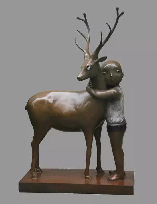 《一个人心中只有一个宝贝》 65×41×19.2cm /65×130×200cm青铜着色 2015