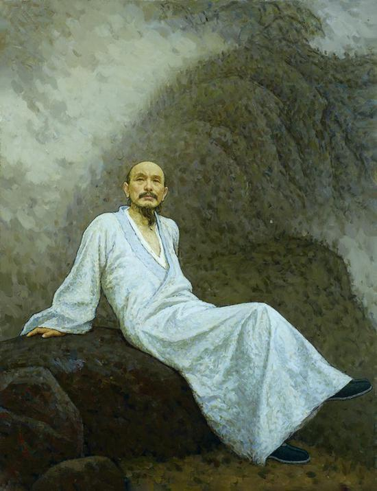 靳尚谊《画僧髡残》布面油画