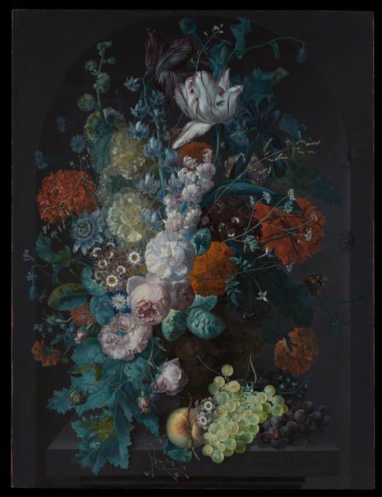 玛格丽塔·哈夫曼,《一瓶花》,1716年